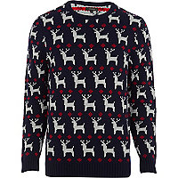 Navy reindeer knitted Christmas jumper