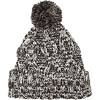 Dark grey chunky cable knit beanie hat