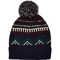 Navy fair isle beanie hat