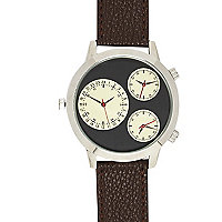 Brown multi-dial watch