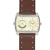 Brown dual dial square face watch