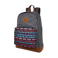 Grey aztec print canvas backpack