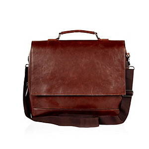 Brown flap over messenger bag