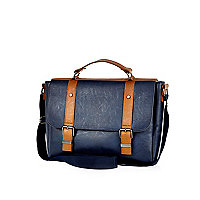 Navy contrast textured satchel