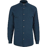 Petrol blue long sleeve poplin shirt