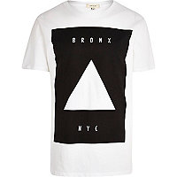 White Bronx NYC longer length t-shirt