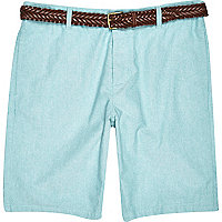 Green belted chino shorts