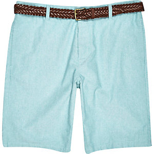 Green Oxford belted shorts