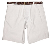 Grey belted chino shorts
