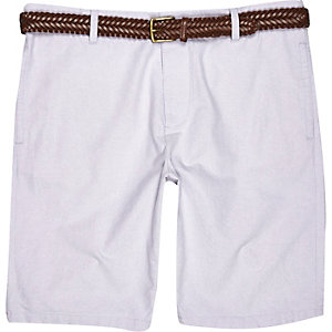 Light purple belted chino shorts