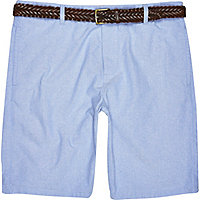 Blue belted chino shorts