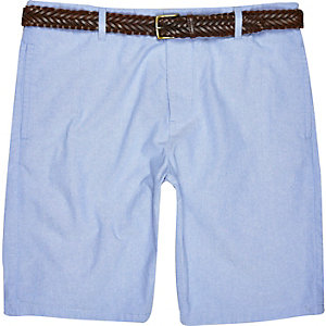 Blue Oxford belted bermuda shorts