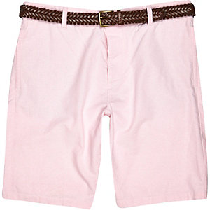 Pink Oxford belted shorts