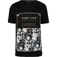 Black true life floral print t-shirt