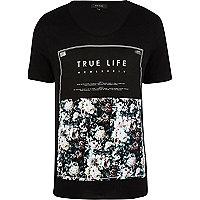 Black true life floral print t-shirt