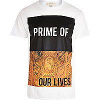 White prime of our lives print t-shirt