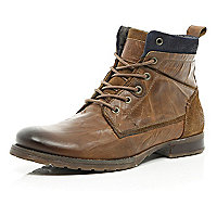 Medium brown lace up military boots
