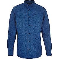 Blue ditsy print long sleeve shirt