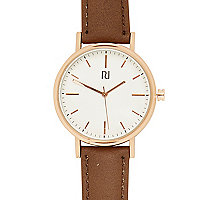 Brown classic white face watch