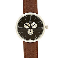 Brown classic black face watch