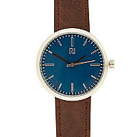 Brown miniamlist blue face watch