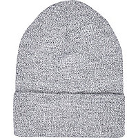 Light grey twist knit beanie hat