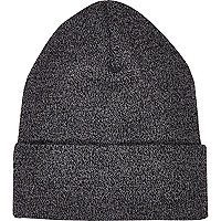 Black twist knit beanie hat