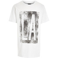 White LA print longer length t-shirt
