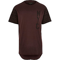 Red NYC contrast sleeve t-shirt