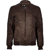 Dark brown leather-look bomber jacket