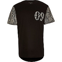Black contrast paisley t-shirt