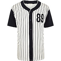 White baseball stripe t-shirt