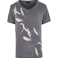 Grey feather print low scoop neck t-shirt