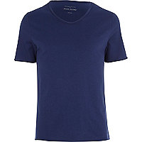 Dark blue low scoop neck t-shirt