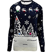 Navy Christmas scene light up jumper