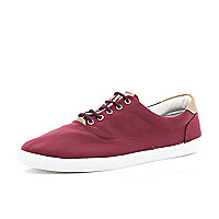Red canvas lace up plimsolls