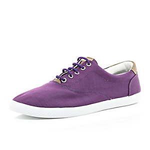 Purple canvas lace up plimsolls