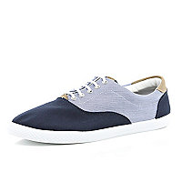 Navy canvas contrast lace up plimsolls