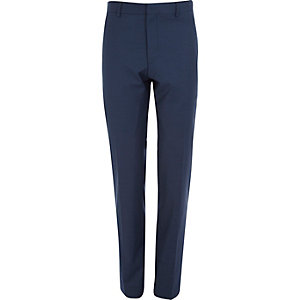 Blue wool-blend skinny suit trousers