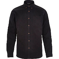 Black acidwash twill long sleeve shirt
