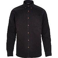 Black acidwash twill long sleeve shirt