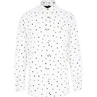 Ecru leaf print long sleeve shirt