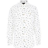 Ecru micro repeat leaf print shirt