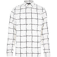 White and black checked shirt