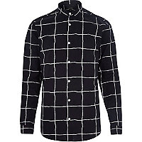 Black window check long sleeve shirt