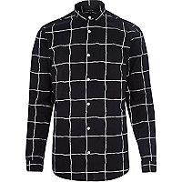 Black window check long sleeve shirt