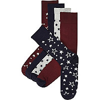 Mixed star print socks pack