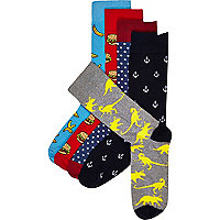 Mixed print socks pack