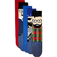 Blue mixed characters socks pack