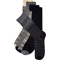 Black fair isle socks pack